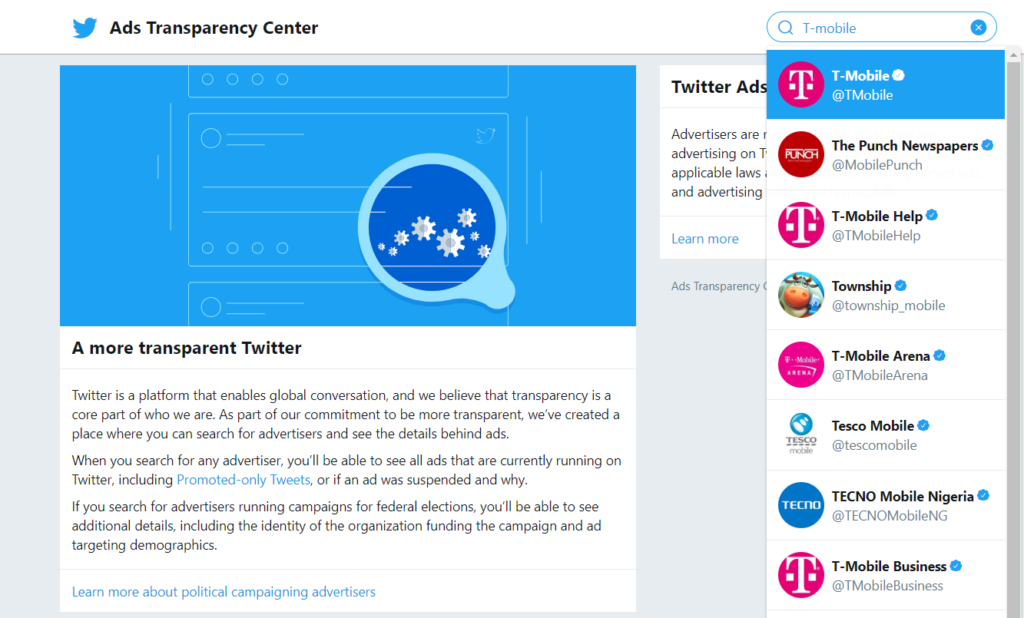 Search for T-Mobile on Twitter Ads Transparency Center