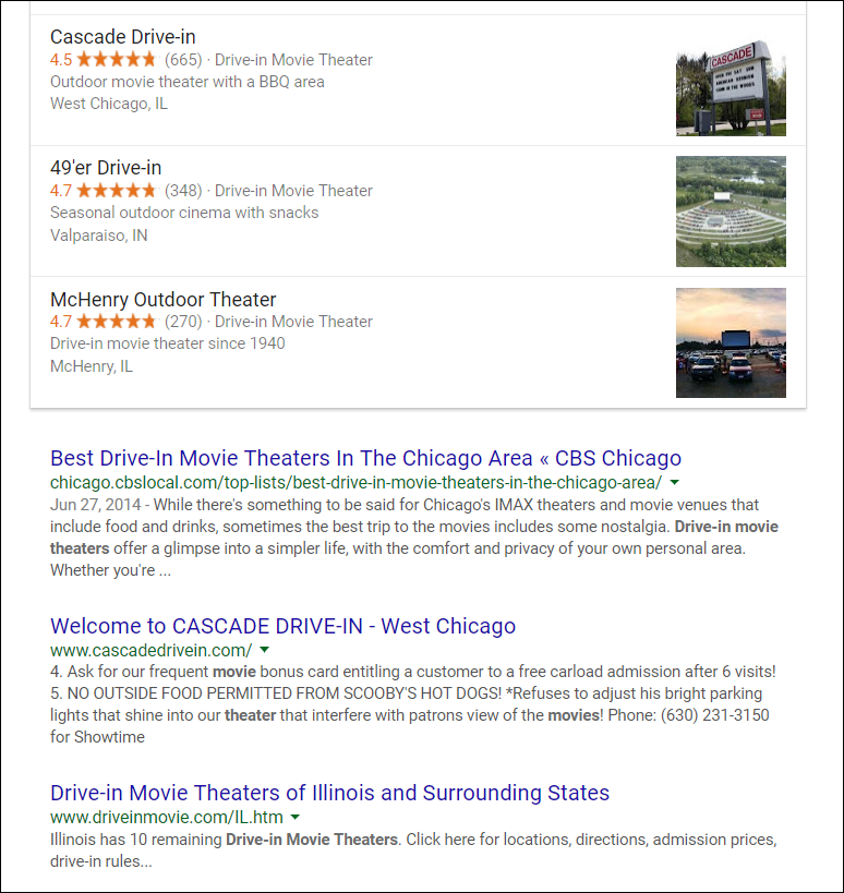 Drive-In Movie Theater SERP
