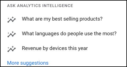 Google Analytics - Ask Analytics Intelligence