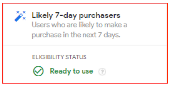 Likely 7-day purchasers (Users who are likely to make a purchase in the next 7 days)