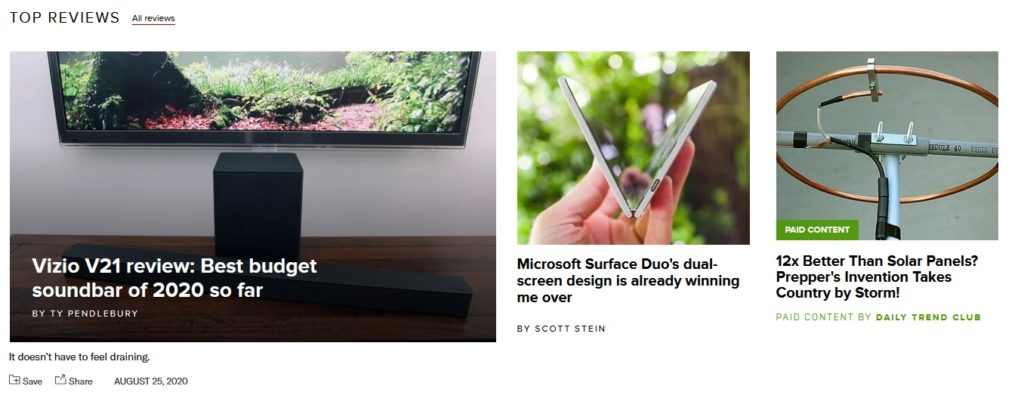Native advertisements on CNET