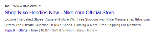 Nike Text Ad on Google