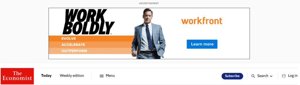 Workfront Display Ad on The Economist