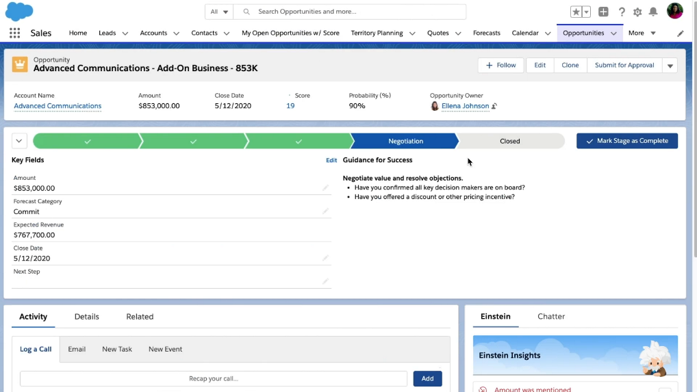 SalesForce Opportunities section